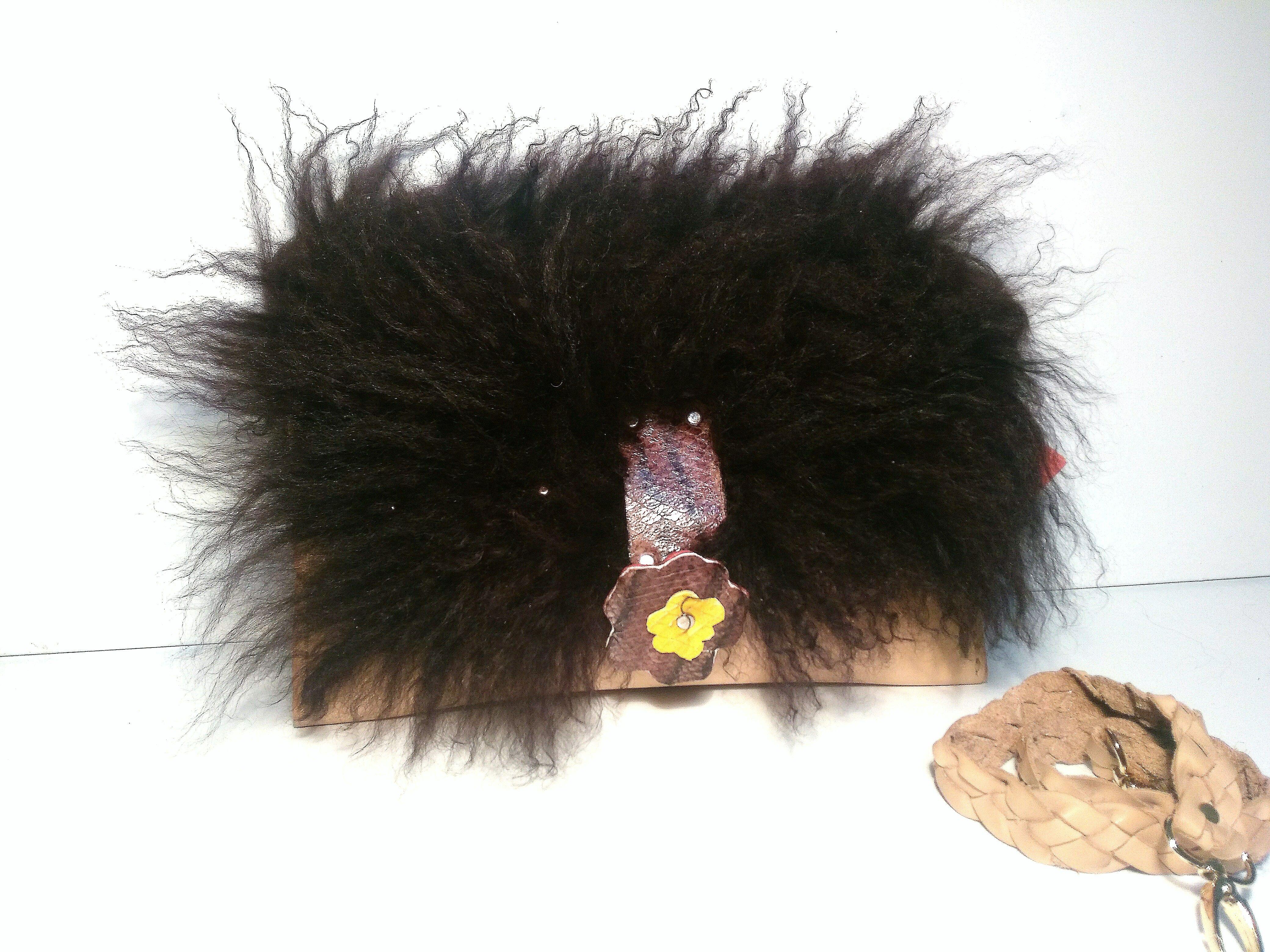 Bolso de pelo de cordero de mongolia