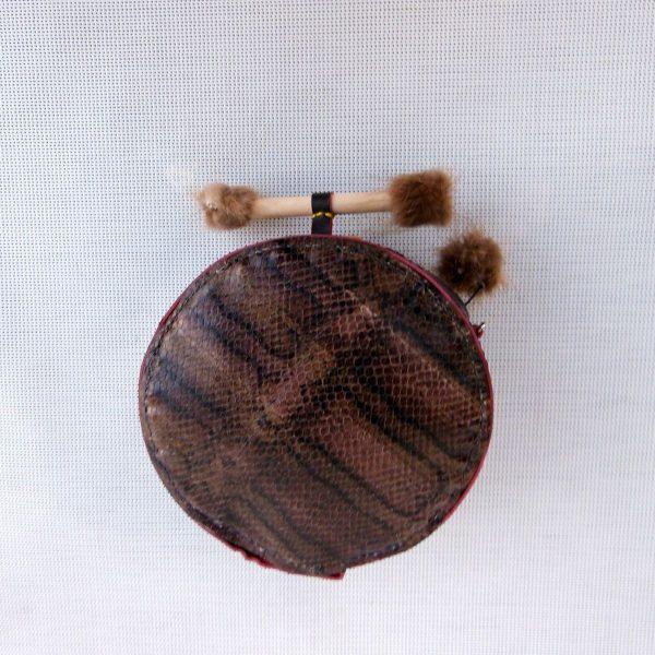 bolso esfera E-002 en piel serpiente y pelo de zorroDSCN3653