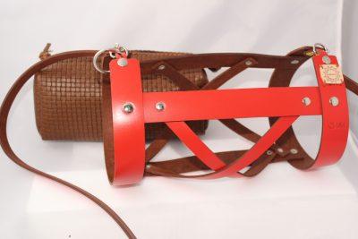 bolso cesta rojo en piel