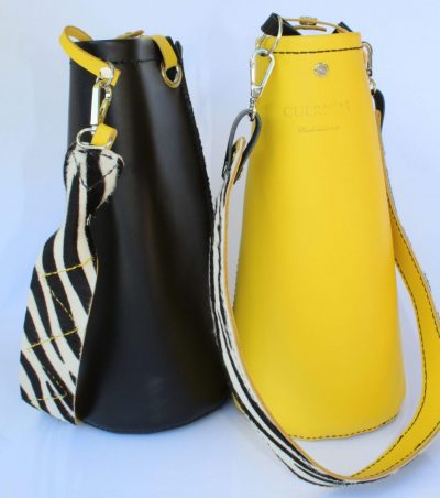 bolso saco serie negro y amarillo