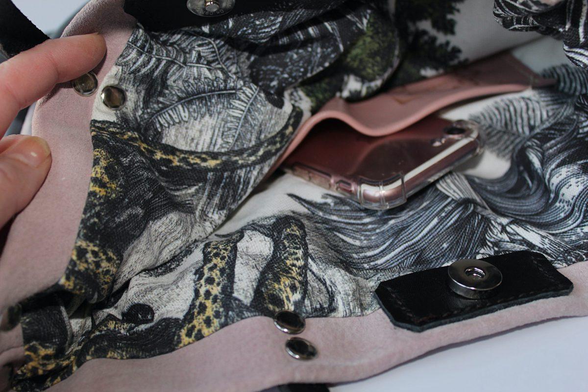 Mochila y bolso en piel herraje rosa y napa gris