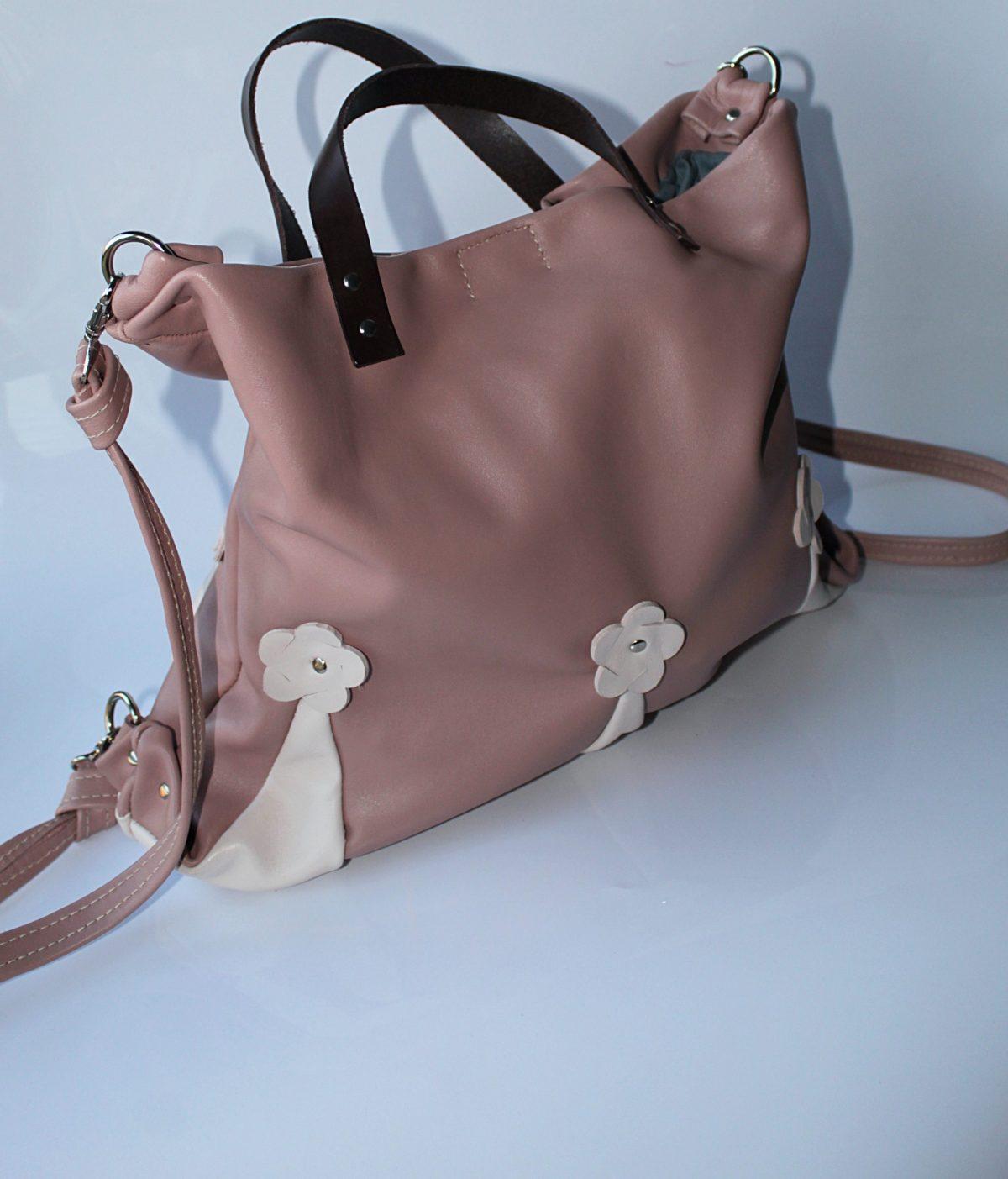 mochila piel rosa nude