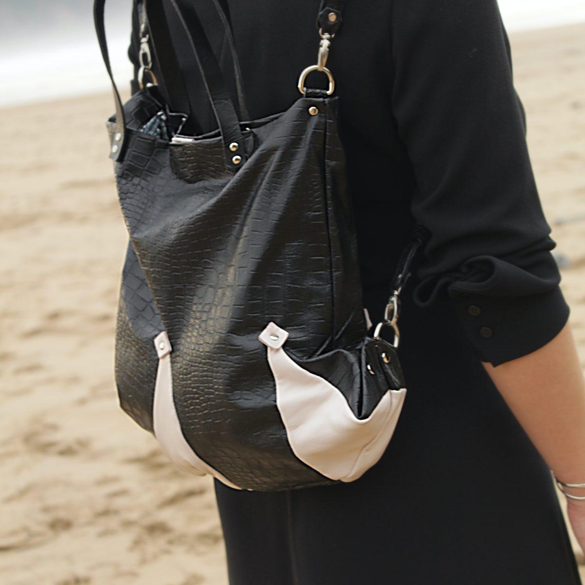 mochila bufon de cuerokas en piel negra y blanca