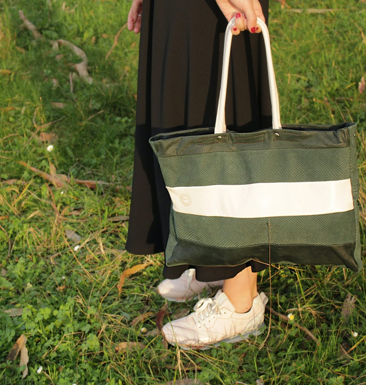 bolso shopper en piel verde