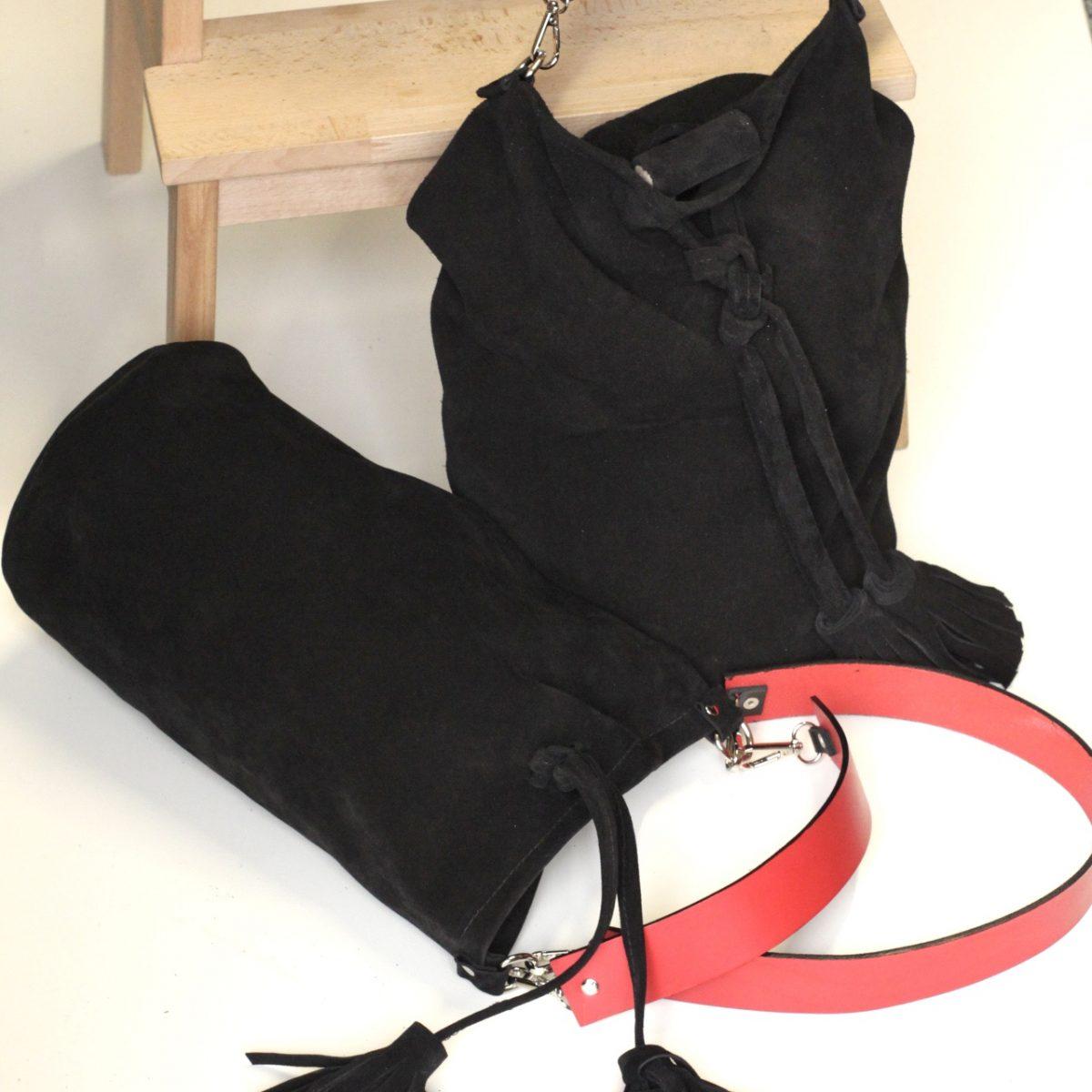 bolso petate en piel serraje bohemio y sostenible de elaboración artesanal en España