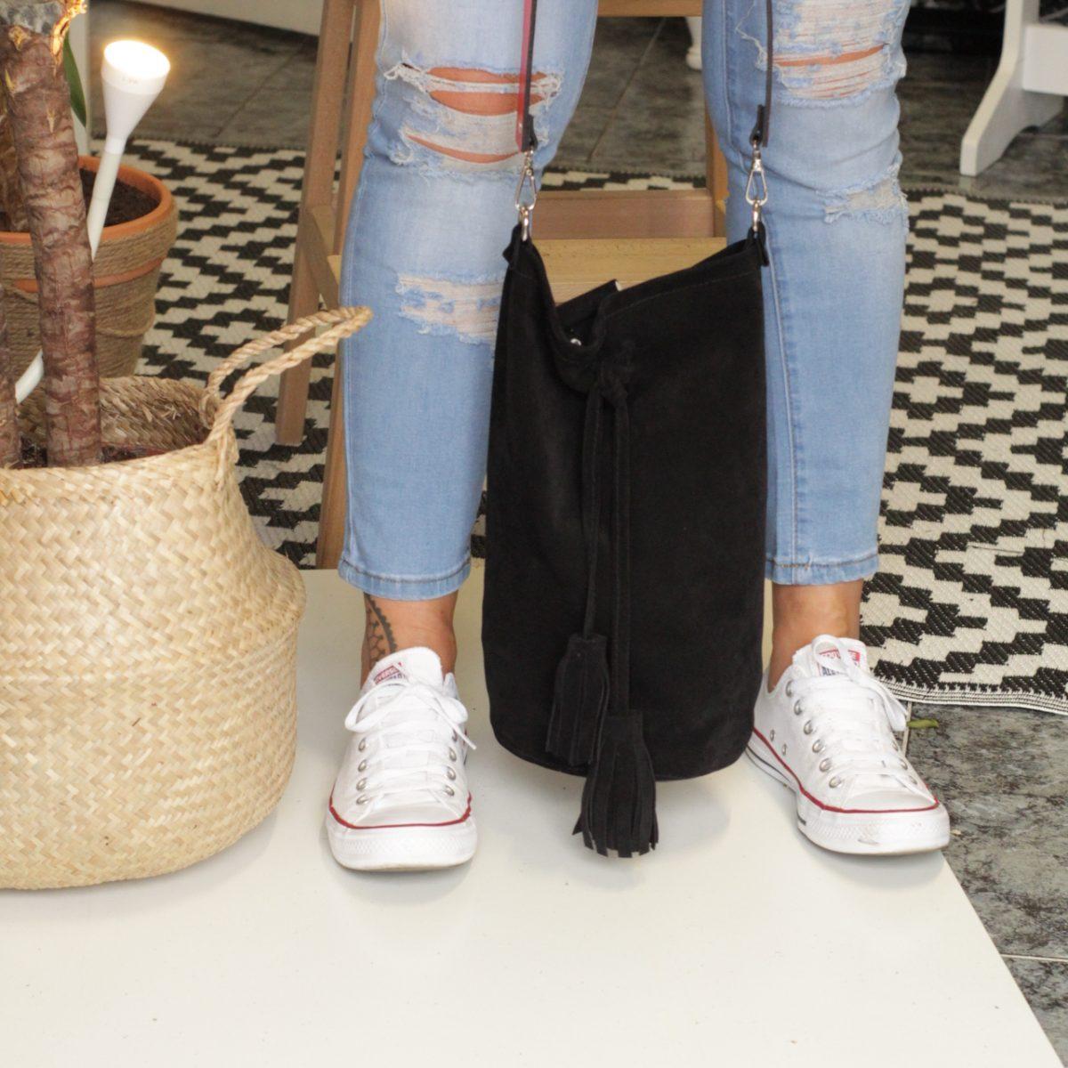 bolso saco en piel serraje sostenible y eco